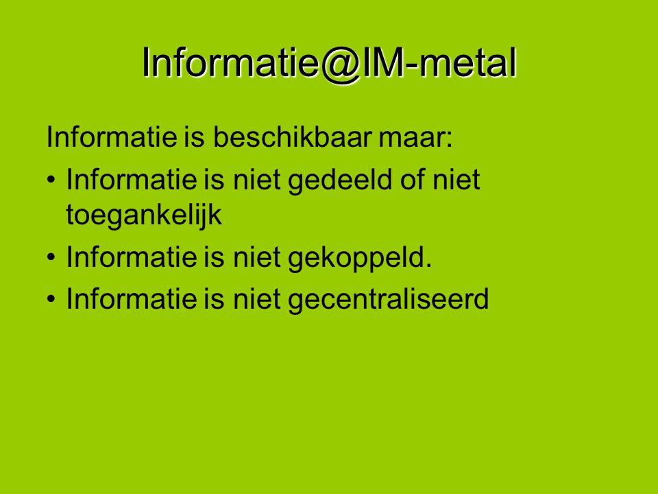 Informatie@IM-metal Informatie is beschikbaar maar: Informatie is niet gedeeld of niet toegankelijk Informatie is niet gekoppeld. Informatie is niet g