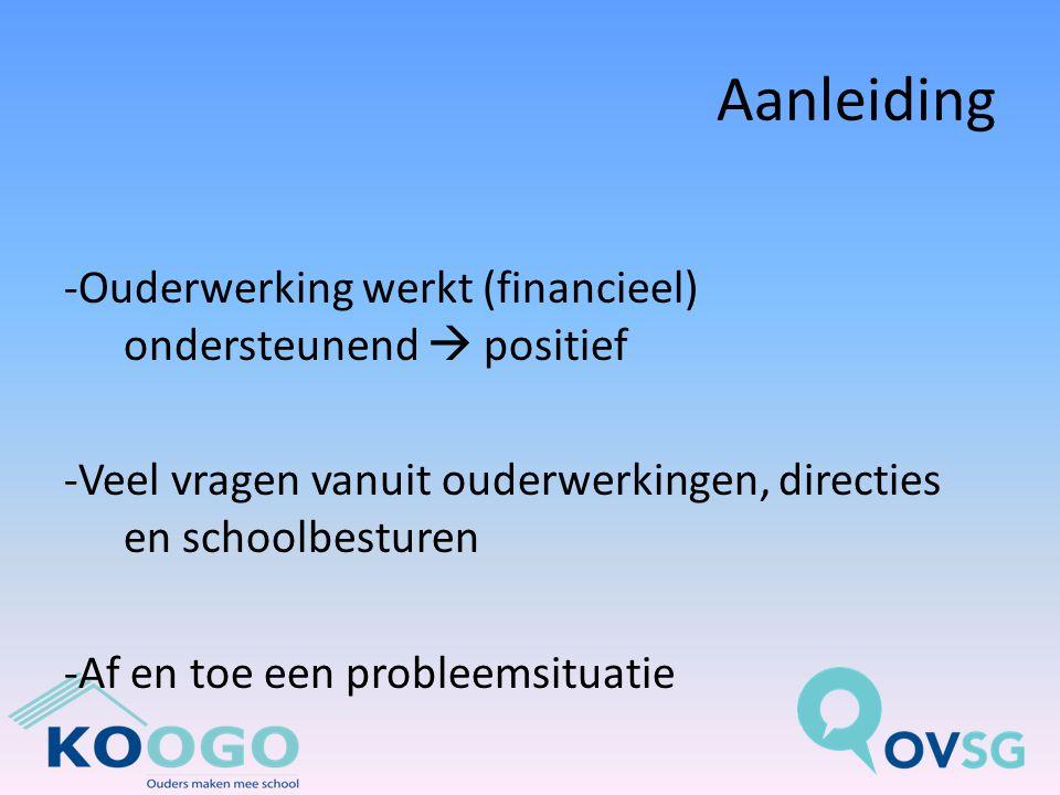 Aanleiding -Ouderwerking werkt (financieel) ondersteunend  positief -Veel vragen vanuit ouderwerkingen, directies en schoolbesturen -Af en toe een probleemsituatie