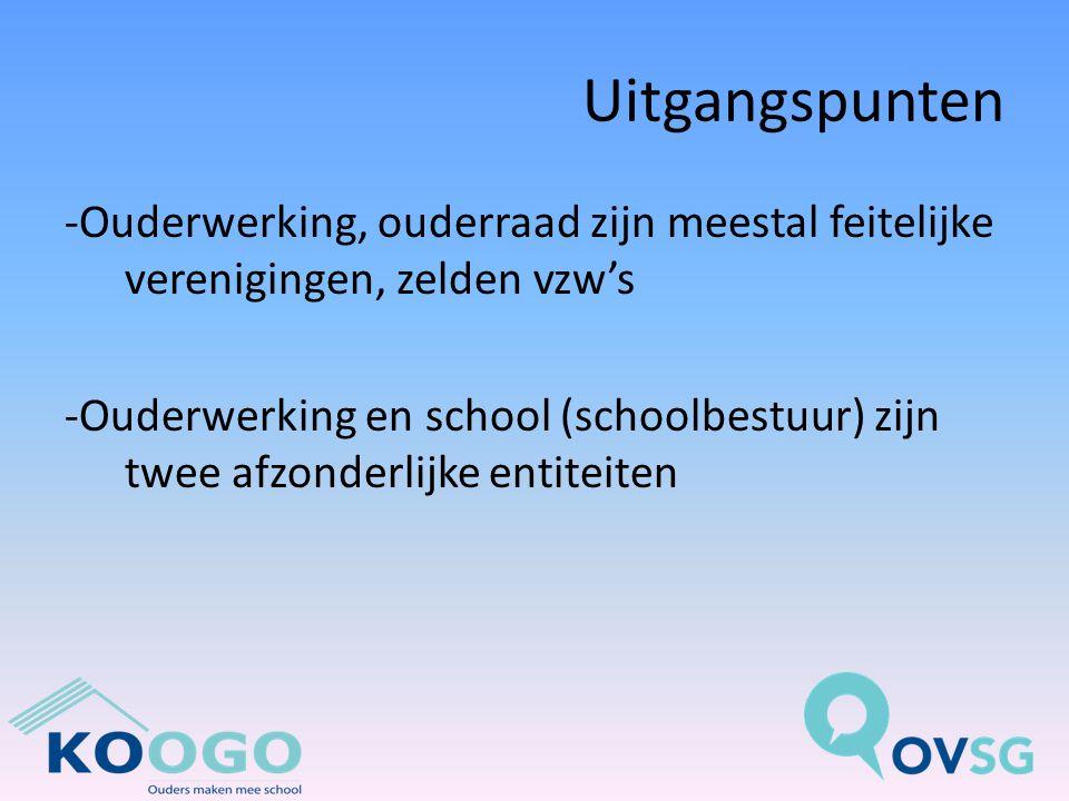 Uitgangspunten -Ouderwerking, ouderraad zijn meestal feitelijke verenigingen, zelden vzw's -Ouderwerking en school (schoolbestuur) zijn twee afzonderlijke entiteiten