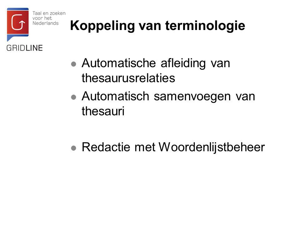 Koppeling van terminologie Automatische afleiding van thesaurusrelaties Automatisch samenvoegen van thesauri Redactie met Woordenlijstbeheer