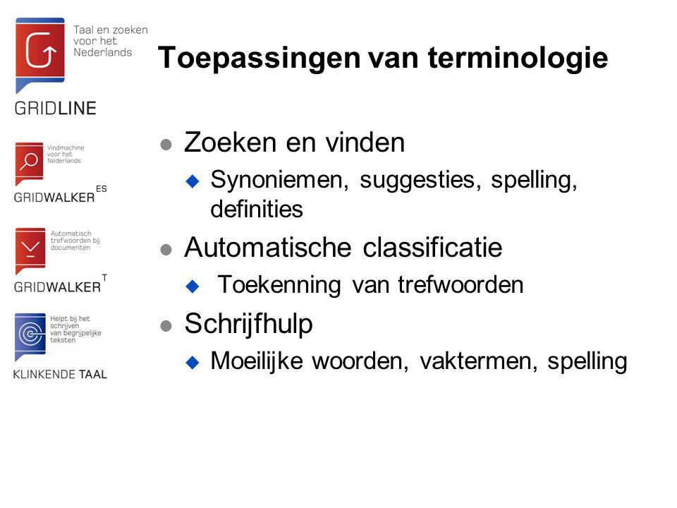 Toepassingen van terminologie Zoeken en vinden  Synoniemen, suggesties, spelling, definities Automatische classificatie  Toekenning van trefwoorden Schrijfhulp  Moeilijke woorden, vaktermen, spelling
