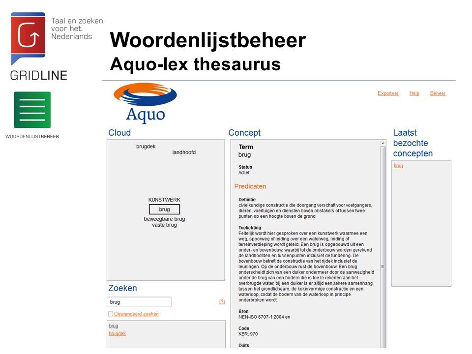 Woordenlijstbeheer Aquo-lex thesaurus