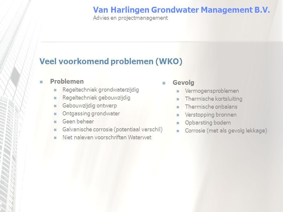 Veel voorkomend problemen (WKO) Problemen Regeltechniek grondwaterzijdig Regeltechniek gebouwzijdig Gebouwzijdig ontwerp Ontgassing grondwater Geen be