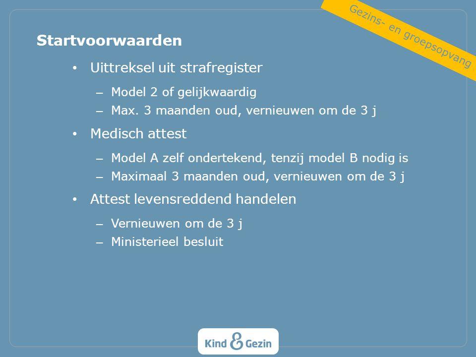 Uittreksel uit strafregister – Model 2 of gelijkwaardig – Max. 3 maanden oud, vernieuwen om de 3 j Medisch attest – Model A zelf ondertekend, tenzij m