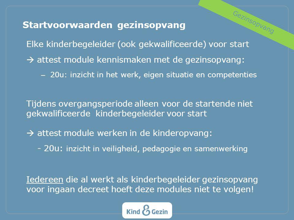 Elke kinderbegeleider (ook gekwalificeerde) voor start  attest module kennismaken met de gezinsopvang: – 20u: inzicht in het werk, eigen situatie en