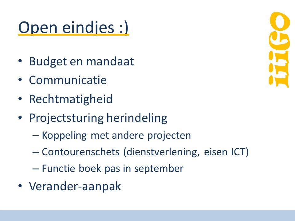 iiiGO Open eindjes :) Budget en mandaat Communicatie Rechtmatigheid Projectsturing herindeling – Koppeling met andere projecten – Contourenschets (die