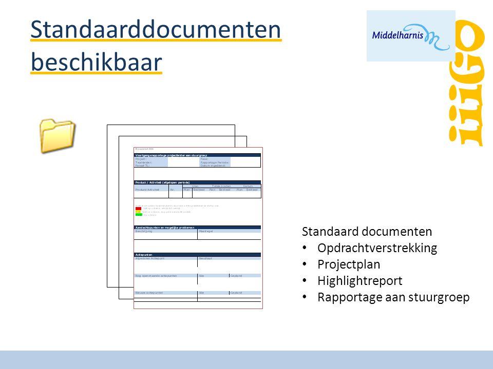 iiiGO Standaarddocumenten beschikbaar Standaard documenten Opdrachtverstrekking Projectplan Highlightreport Rapportage aan stuurgroep