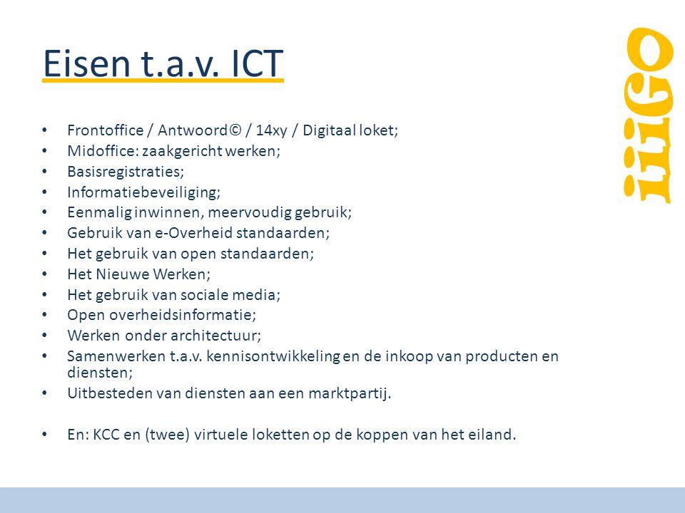 iiiGO Eisen t.a.v. ICT Frontoffice / Antwoord© / 14xy / Digitaal loket; Midoffice: zaakgericht werken; Basisregistraties; Informatiebeveiliging; Eenma