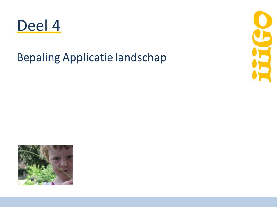 iiiGO Deel 4 Bepaling Applicatie landschap