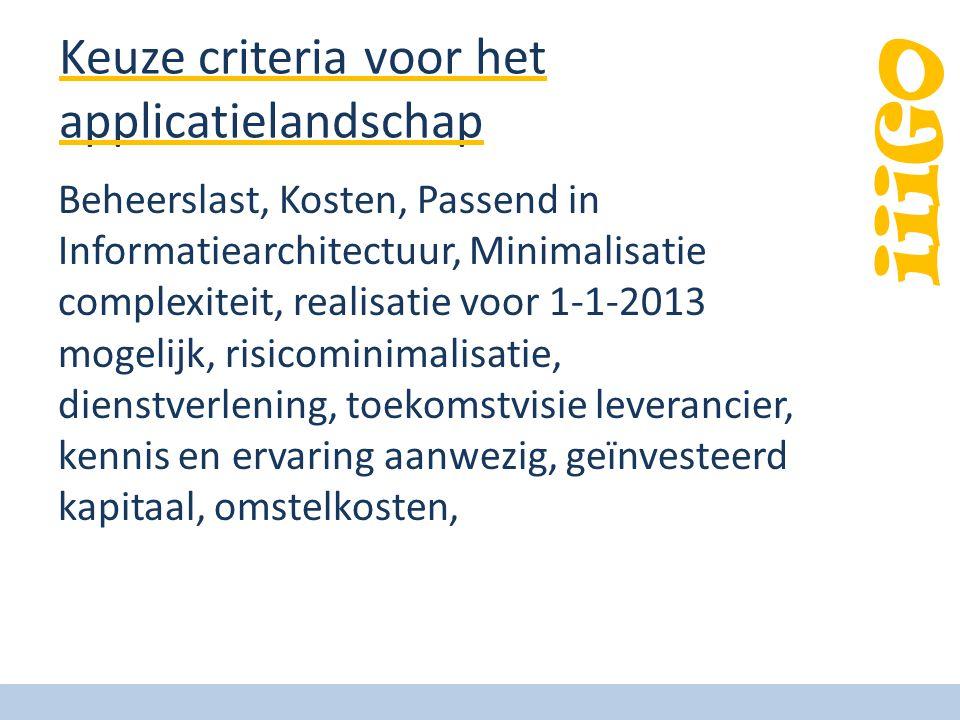 iiiGO Keuze criteria voor het applicatielandschap Beheerslast, Kosten, Passend in Informatiearchitectuur, Minimalisatie complexiteit, realisatie voor