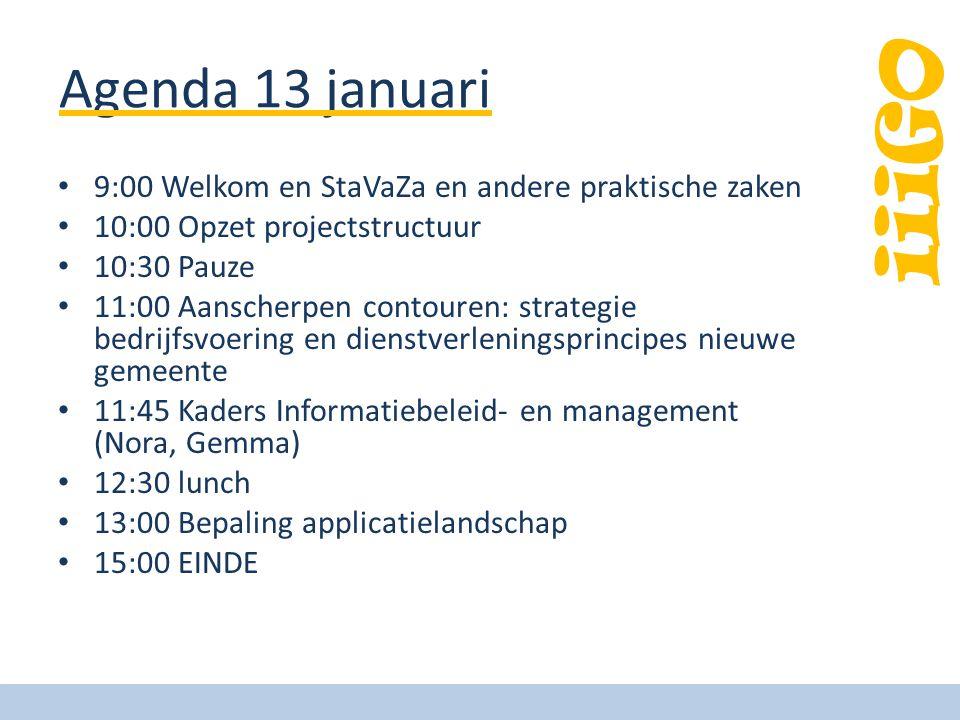 iiiGO Agenda 13 januari 9:00 Welkom en StaVaZa en andere praktische zaken 10:00 Opzet projectstructuur 10:30 Pauze 11:00 Aanscherpen contouren: strate