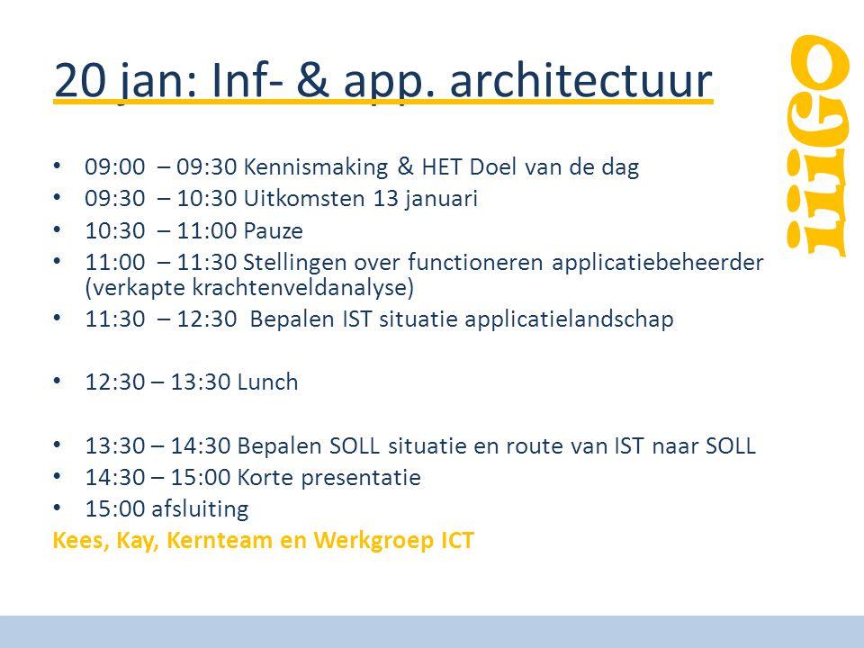 iiiGO 20 jan: Inf- & app. architectuur 09:00 – 09:30 Kennismaking & HET Doel van de dag 09:30 – 10:30 Uitkomsten 13 januari 10:30 – 11:00 Pauze 11:00