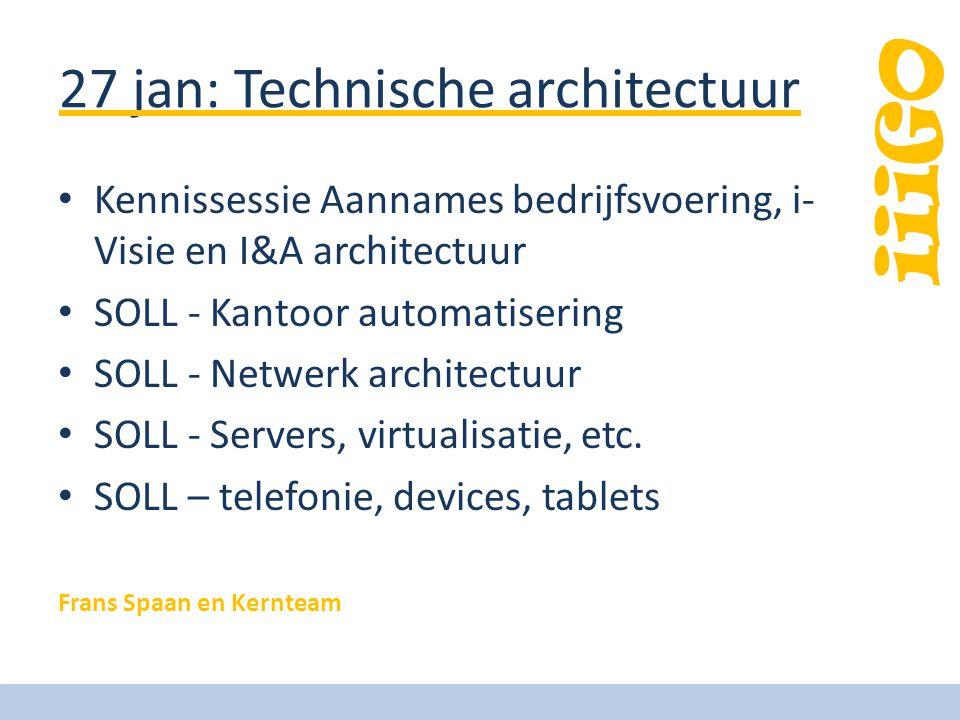 iiiGO 27 jan: Technische architectuur Kennissessie Aannames bedrijfsvoering, i- Visie en I&A architectuur SOLL - Kantoor automatisering SOLL - Netwerk