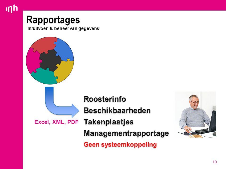 10 Rapportages In/uitvoer & beheer van gegevens Excel, XML, PDF