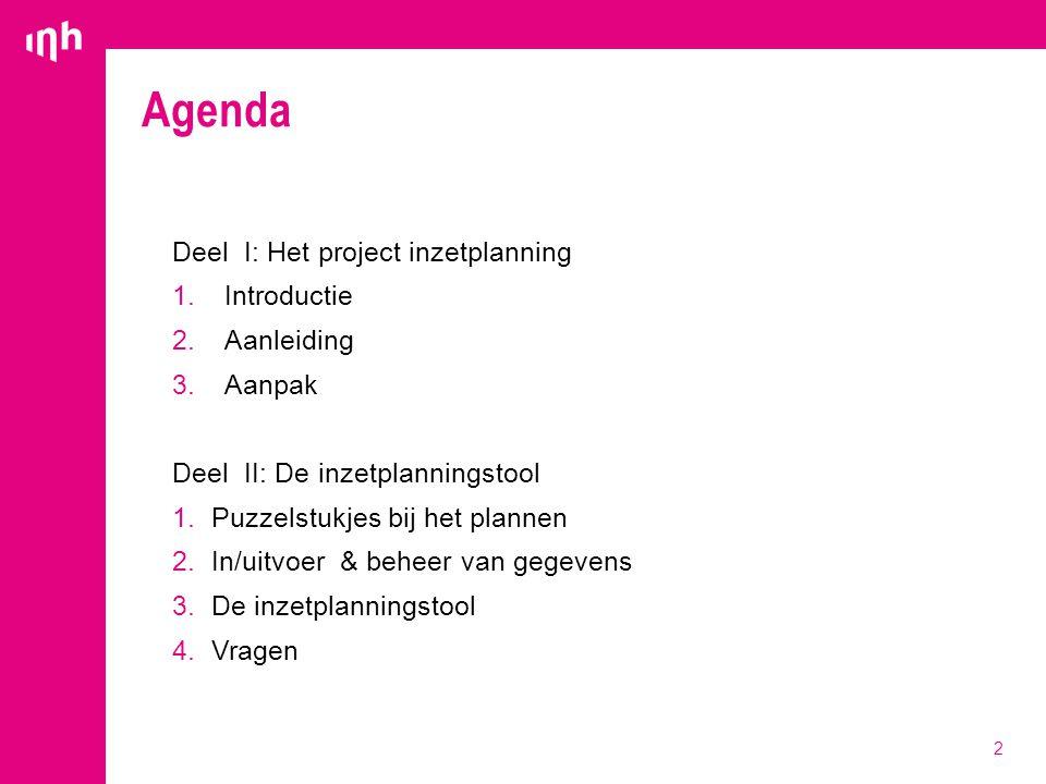 Agenda 2 Deel I: Het project inzetplanning 1.Introductie 2.Aanleiding 3.Aanpak Deel II: De inzetplanningstool 1.Puzzelstukjes bij het plannen 2.In/uit