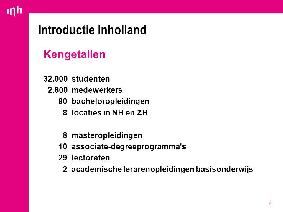 3 Introductie Inholland Kengetallen 32.000 studenten 2.800medewerkers 90bacheloropleidingen 8 locaties in NH en ZH 8 masteropleidingen 10associate-deg