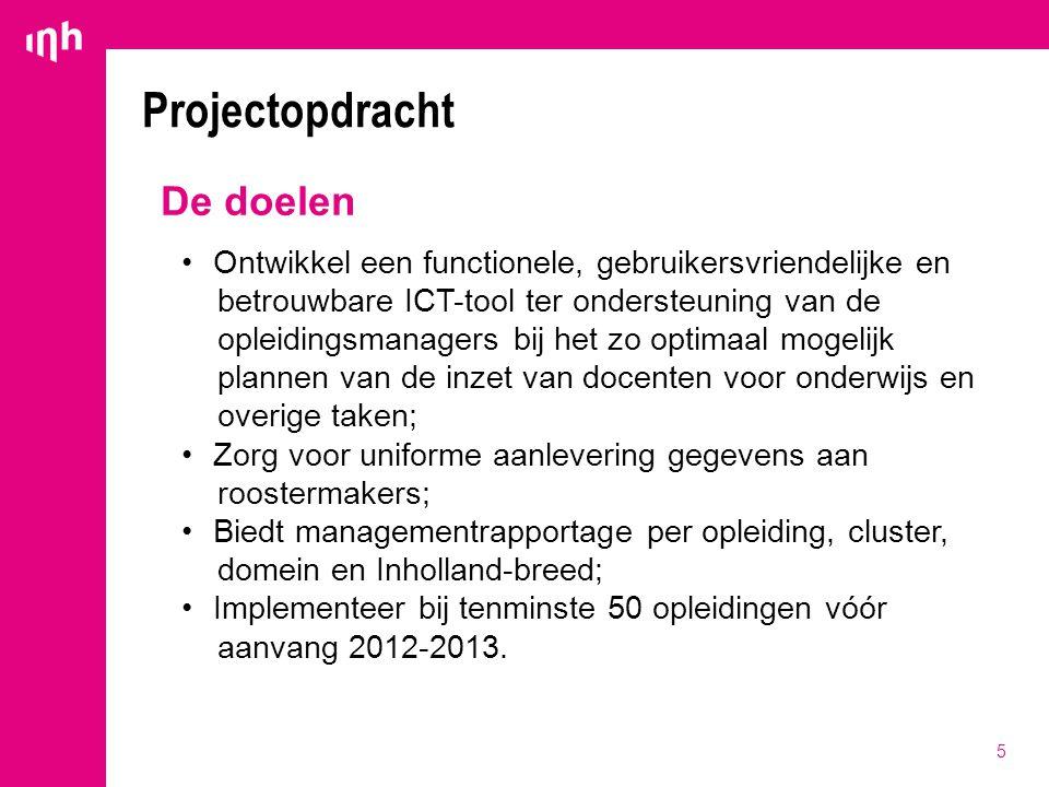 5 Projectopdracht De doelen Ontwikkel een functionele, gebruikersvriendelijke en betrouwbare ICT-tool ter ondersteuning van de opleidingsmanagers bij