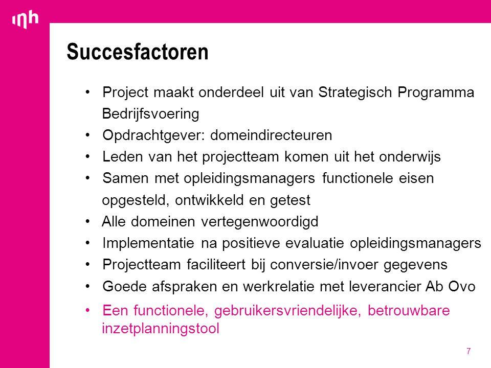 7 Succesfactoren Project maakt onderdeel uit van Strategisch Programma Bedrijfsvoering Opdrachtgever: domeindirecteuren Leden van het projectteam kome