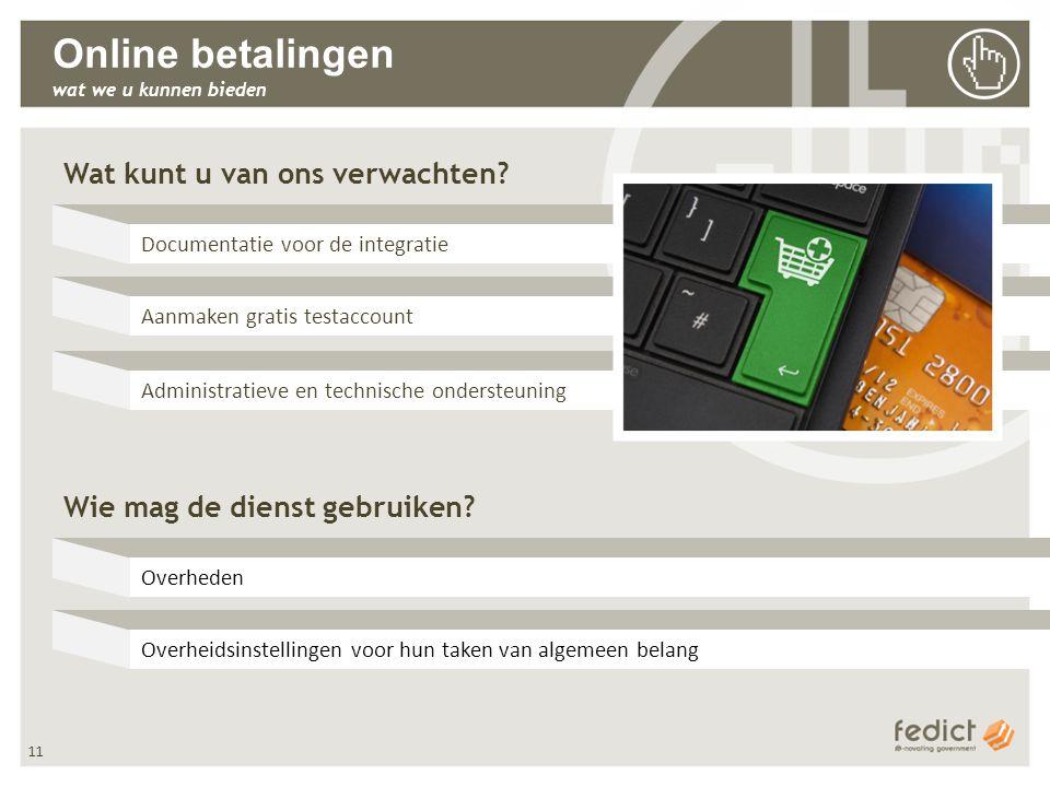 11 Online betalingen wat we u kunnen bieden Wat kunt u van ons verwachten? Documentatie voor de integratie Aanmaken gratis testaccount Administratieve
