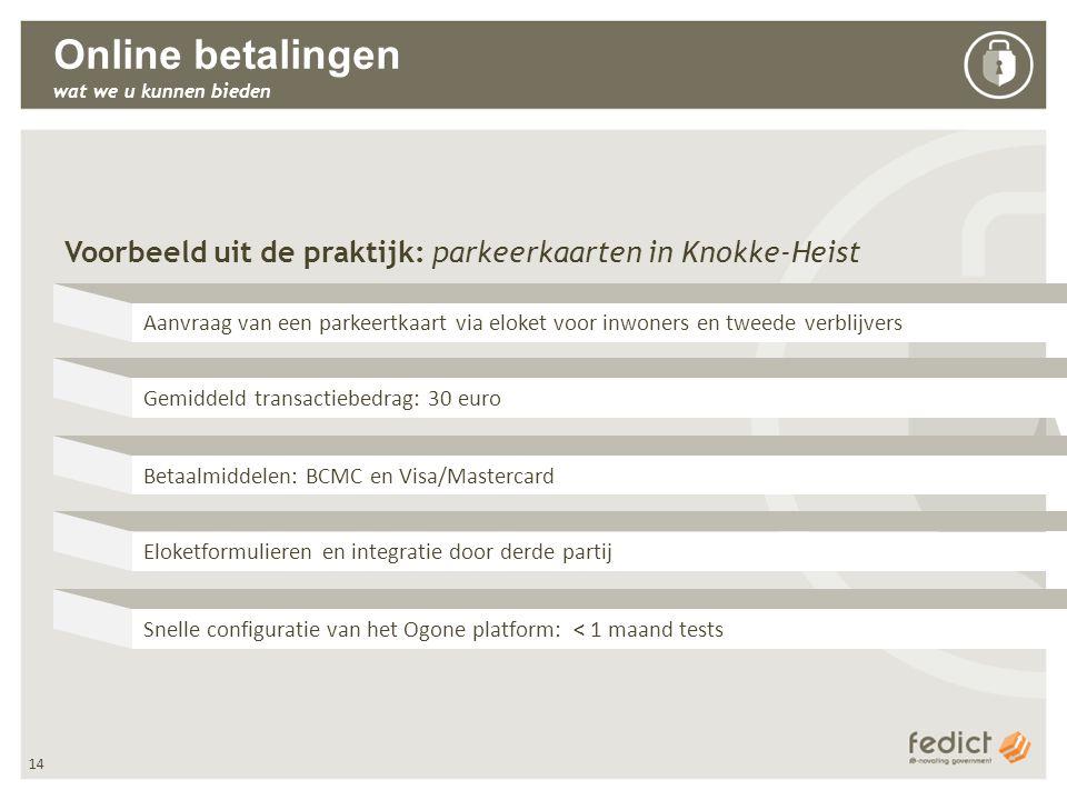 14 Online betalingen wat we u kunnen bieden Voorbeeld uit de praktijk: parkeerkaarten in Knokke-Heist Aanvraag van een parkeertkaart via eloket voor inwoners en tweede verblijvers Gemiddeld transactiebedrag: 30 euro Betaalmiddelen: BCMC en Visa/Mastercard Eloketformulieren en integratie door derde partij Snelle configuratie van het Ogone platform: < 1 maand tests