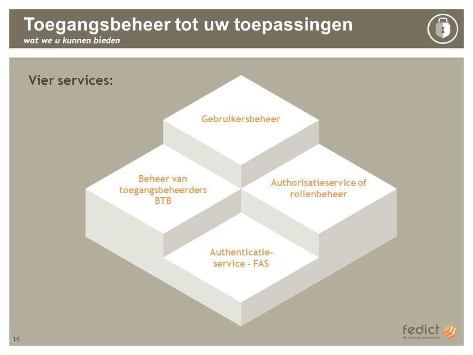 16 Toegangsbeheer tot uw toepassingen wat we u kunnen bieden Vier services: Gebruikersbeheer Beheer van toegangsbeheerders BTB Authorisatieservice of rollenbeheer Authenticatie- service - FAS 16