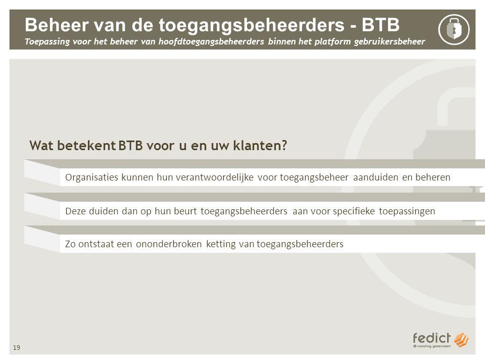 19 Beheer van de toegangsbeheerders - BTB Toepassing voor het beheer van hoofdtoegangsbeheerders binnen het platform gebruikersbeheer Wat betekent BTB voor u en uw klanten.