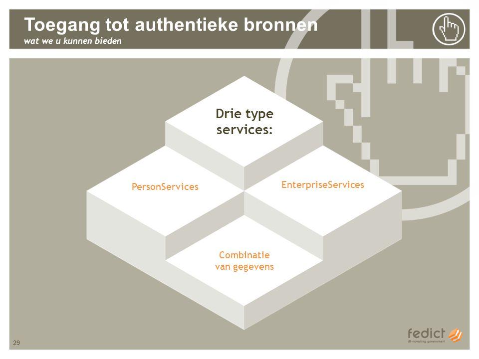 29 Toegang tot authentieke bronnen wat we u kunnen bieden PersonServices EnterpriseServices Combinatie van gegevens Drie type services: 29