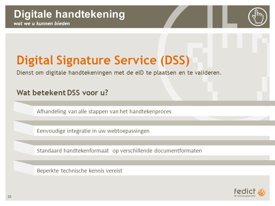 35 Digitale handtekening wat we u kunnen bieden Afhandeling van alle stappen van het handtekenproces Eenvoudige integratie in uw webtoepassingen Stand
