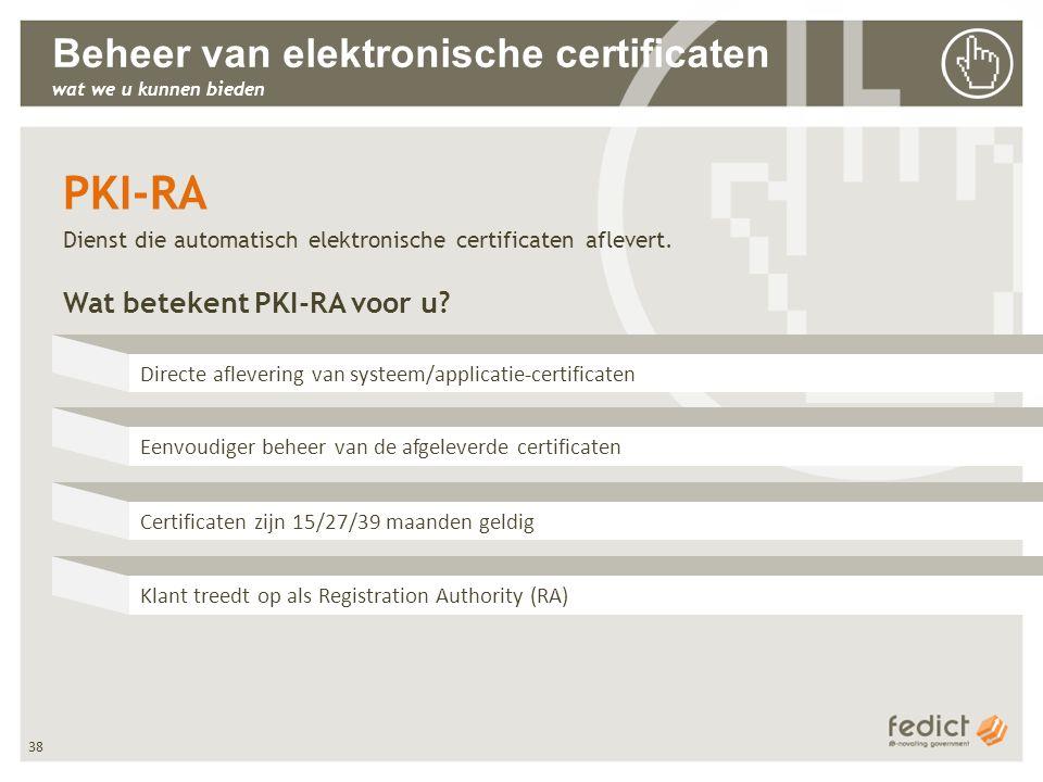 38 Beheer van elektronische certificaten wat we u kunnen bieden PKI-RA Dienst die automatisch elektronische certificaten aflevert. Wat betekent PKI-RA