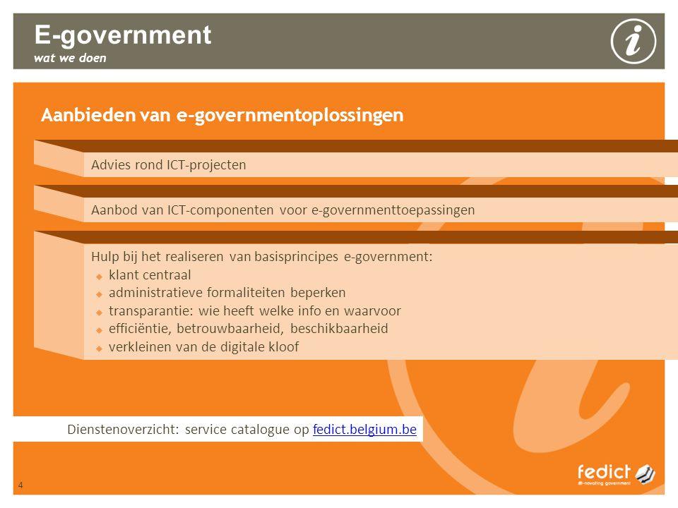 4 E-government wat we doen Aanbieden van e-governmentoplossingen Advies rond ICT-projecten Aanbod van ICT-componenten voor e-governmenttoepassingen Hu