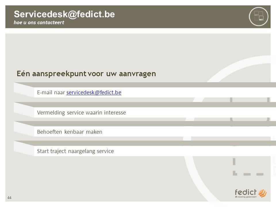 44 Servicedesk@fedict.be hoe u ons contacteert Eén aanspreekpunt voor uw aanvragen E-mail naar servicedesk@fedict.beservicedesk@fedict.be Vermelding s