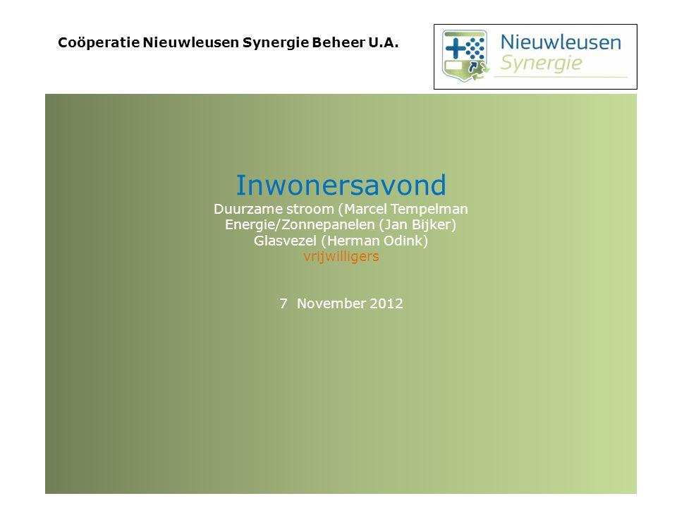 Energiebedrijf Nieuwleusen Synergie Energielevering vanaf 1 januari 2013
