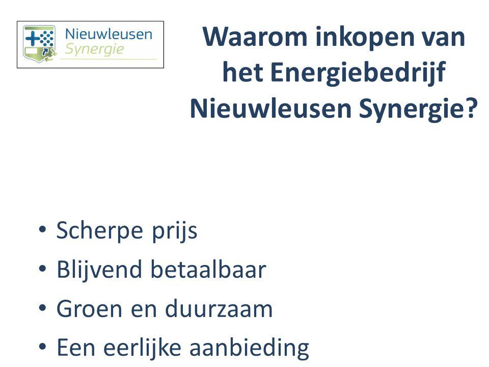 Waarom inkopen van het Energiebedrijf Nieuwleusen Synergie? Scherpe prijs Blijvend betaalbaar Groen en duurzaam Een eerlijke aanbieding