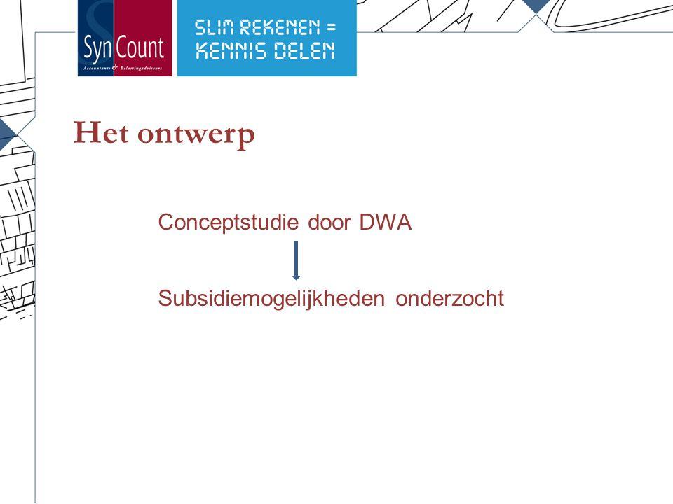 Het ontwerp Conceptstudie door DWA Subsidiemogelijkheden onderzocht