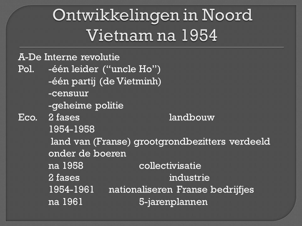 """A-De Interne revolutie Pol.-één leider (""""uncle Ho"""") -één partij (de Vietminh) -censuur -geheime politie Eco.2 faseslandbouw 1954-1958 land van (Franse"""