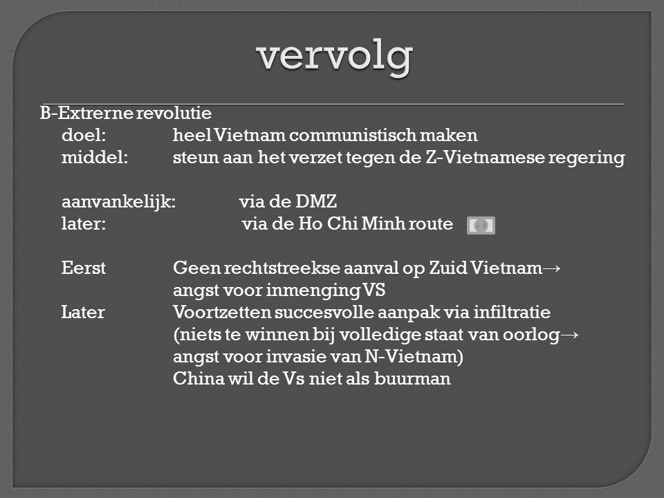 B-Extrerne revolutie doel: heel Vietnam communistisch maken middel:steun aan het verzet tegen de Z-Vietnamese regering aanvankelijk:via de DMZ later: