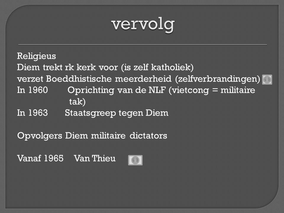 Religieus Diem trekt rk kerk voor (is zelf katholiek) verzet Boeddhistische meerderheid (zelfverbrandingen) In 1960 Oprichting van de NLF (vietcong =