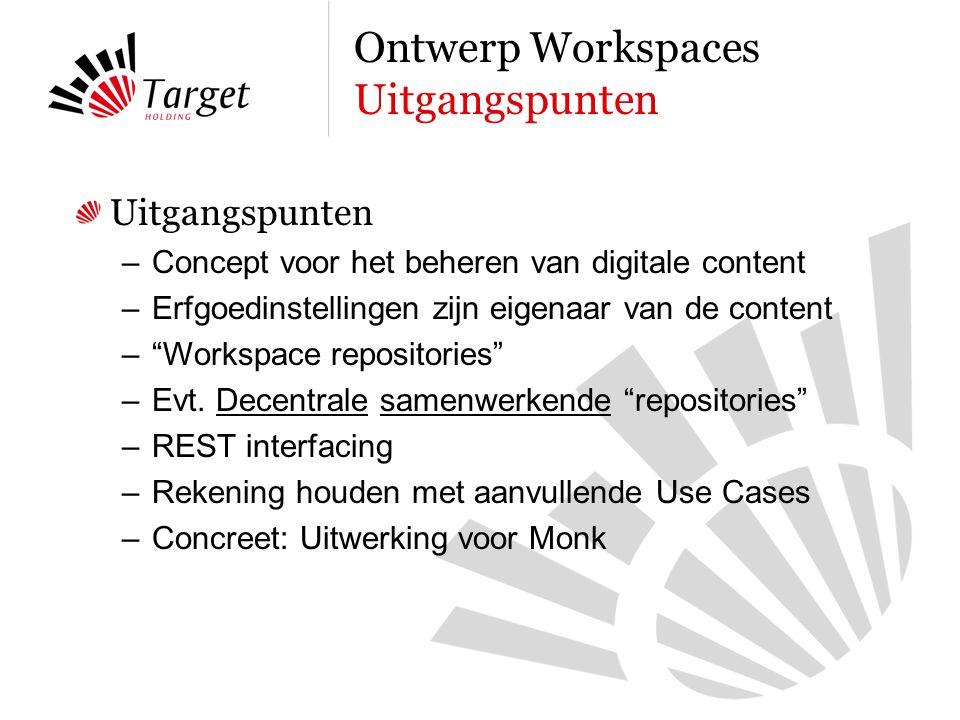 Uitgangspunten –Concept voor het beheren van digitale content –Erfgoedinstellingen zijn eigenaar van de content – Workspace repositories –Evt.