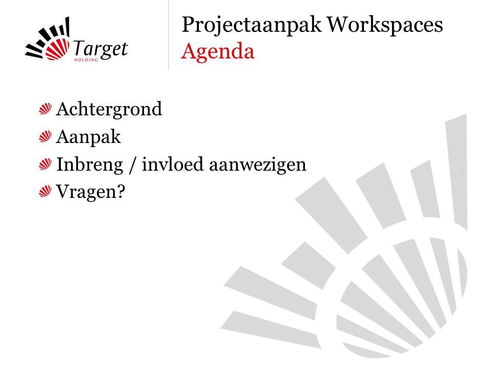 Achtergrond Aanpak Inbreng / invloed aanwezigen Vragen Projectaanpak Workspaces Agenda