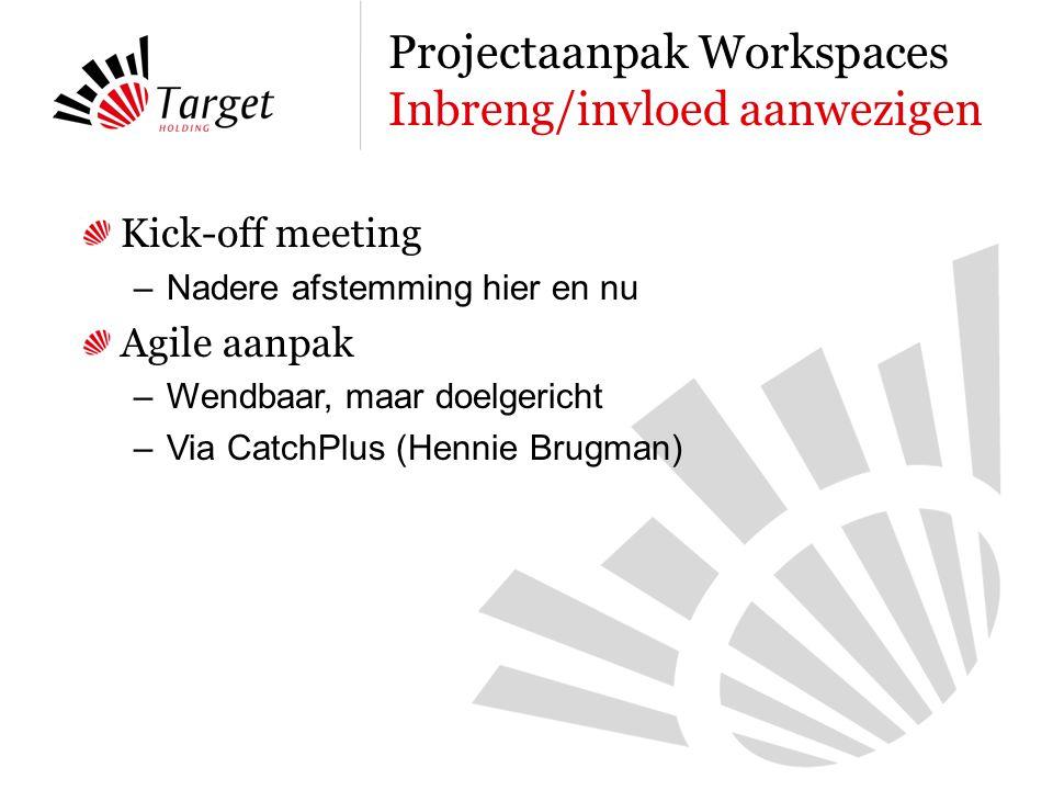 Kick-off meeting –Nadere afstemming hier en nu Agile aanpak –Wendbaar, maar doelgericht –Via CatchPlus (Hennie Brugman) Projectaanpak Workspaces Inbreng/invloed aanwezigen
