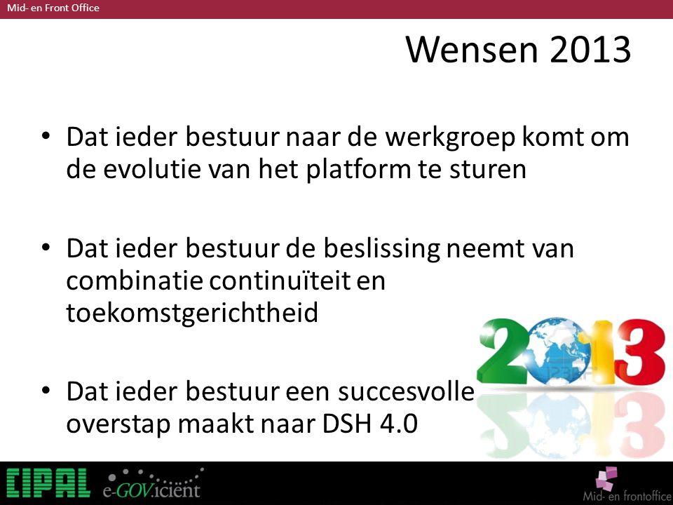 Mid- en Front Office Wensen 2013 Dat ieder bestuur naar de werkgroep komt om de evolutie van het platform te sturen Dat ieder bestuur de beslissing neemt van combinatie continuïteit en toekomstgerichtheid Dat ieder bestuur een succesvolle overstap maakt naar DSH 4.0