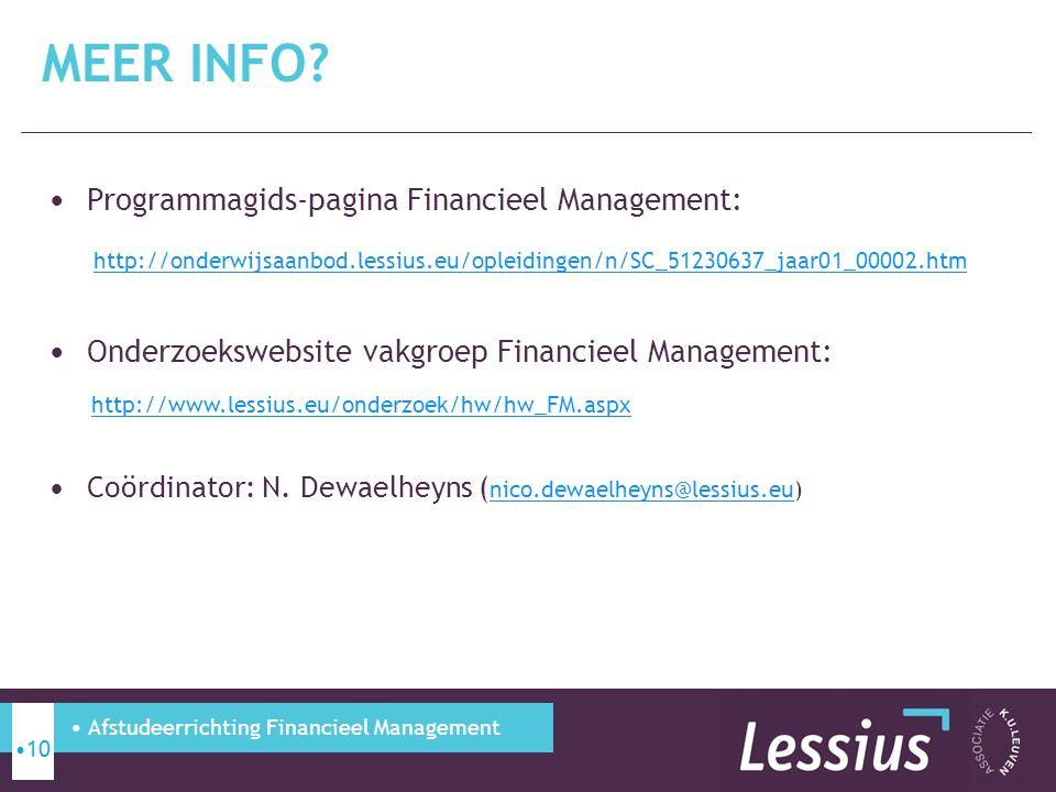 Programmagids-pagina Financieel Management: http://onderwijsaanbod.lessius.eu/opleidingen/n/SC_51230637_jaar01_00002.htm Onderzoekswebsite vakgroep Fi