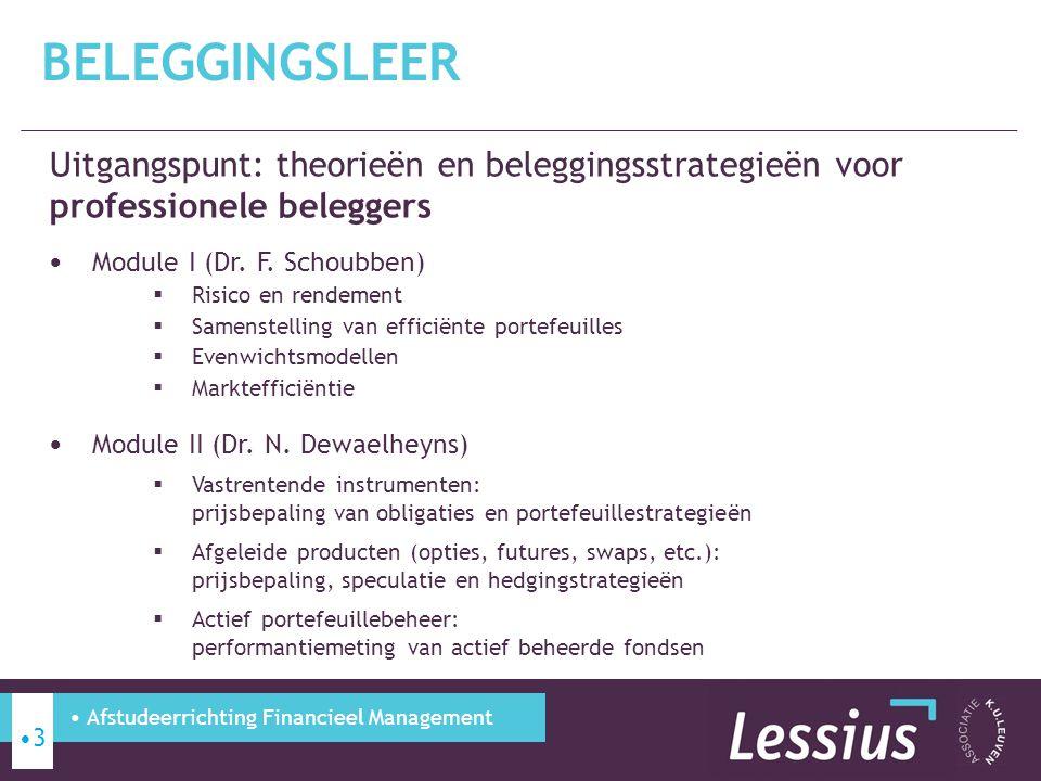 Uitgangspunt: theorieën en beleggingsstrategieën voor professionele beleggers Module I (Dr. F. Schoubben)  Risico en rendement  Samenstelling van ef