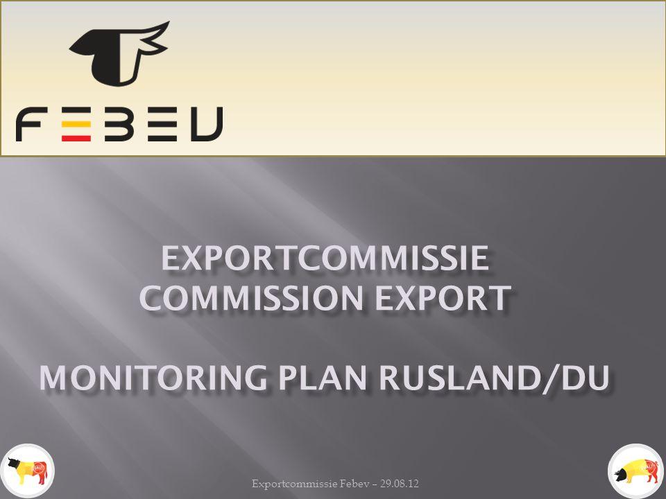 Exportcommissie Febev – 29.08.12 EXPORTCOMMISSIE COMMISSION EXPORT MONITORING PLAN RUSLAND/DU
