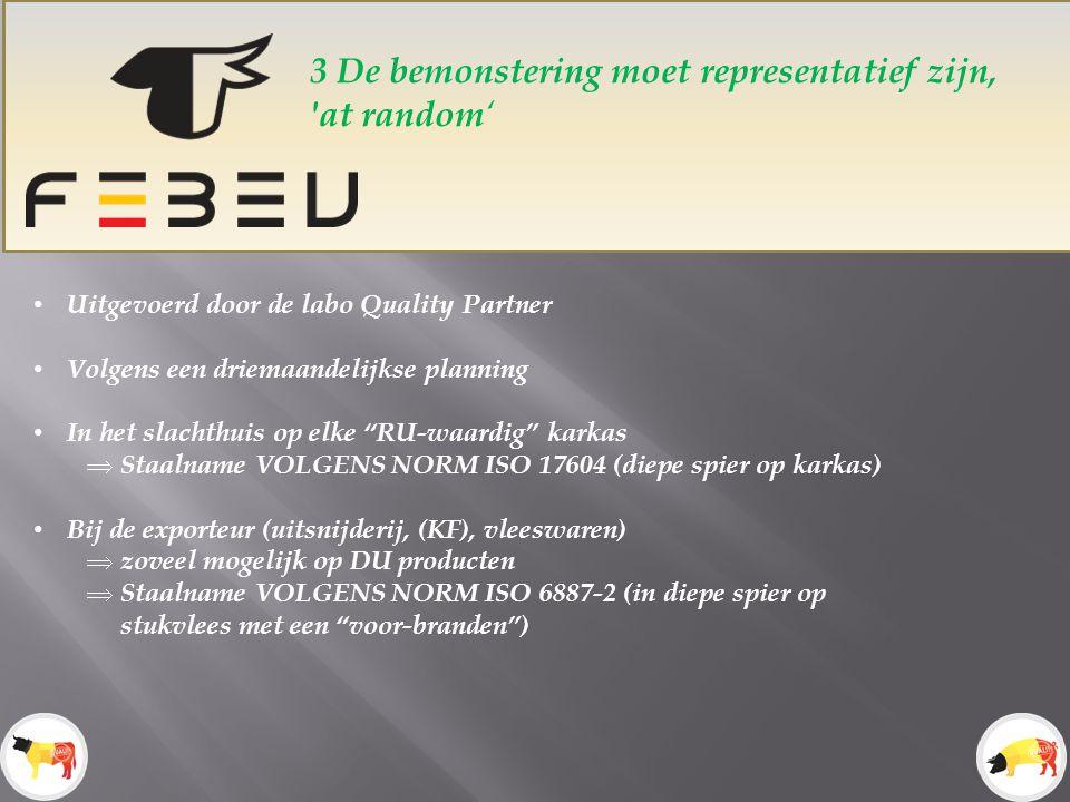 3 De bemonstering moet representatief zijn, at random ' Uitgevoerd door de labo Quality Partner Volgens een driemaandelijkse planning In het slachthuis op elke RU-waardig karkas  Staalname VOLGENS NORM ISO 17604 (diepe spier op karkas) Bij de exporteur (uitsnijderij, (KF), vleeswaren)  zoveel mogelijk op DU producten  Staalname VOLGENS NORM ISO 6887-2 (in diepe spier op stukvlees met een voor-branden )