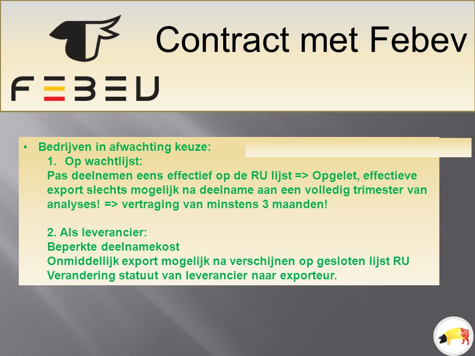 Terugsturen Info Dans My FEBEV Monitoring RU = Résultats sectoriels et individuels + résultats individuels du fournisseur BE (contrat) Monitoring autocontrôle = Résultats sectoriels.