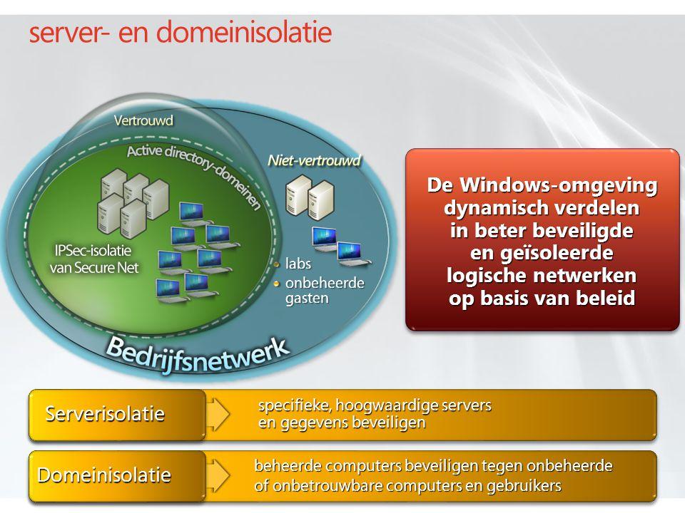 server- en domeinisolatie labs onbeheerde gasten beheerde computers beveiligen tegen onbeheerde of onbetrouwbare computers en gebruikers specifieke, hoogwaardige servers en gegevens beveiligen Serverisolatie Domeinisolatie De Windows-omgeving dynamisch verdelen in beter beveiligde en geïsoleerde logische netwerken op basis van beleid