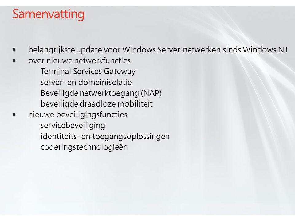 Samenvatting belangrijkste update voor Windows Server-netwerken sinds Windows NT over nieuwe netwerkfuncties Terminal Services Gateway server- en domeinisolatie Beveiligde netwerktoegang (NAP) beveiligde draadloze mobiliteit nieuwe beveiligingsfuncties servicebeveiliging identiteits- en toegangsoplossingen coderingstechnologieën