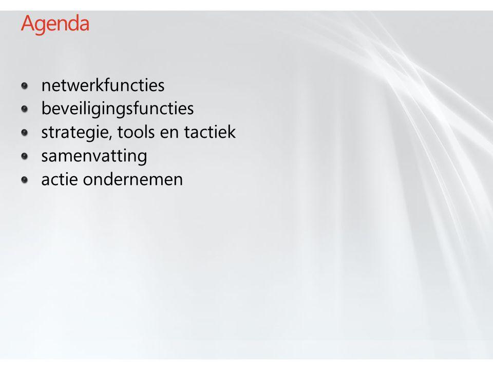 Agenda netwerkfuncties beveiligingsfuncties strategie, tools en tactiek samenvatting actie ondernemen
