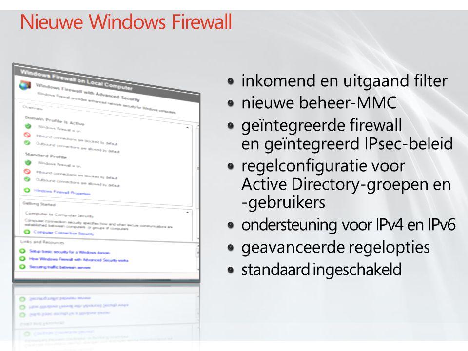 Nieuwe Windows Firewall inkomend en uitgaand filter nieuwe beheer-MMC geïntegreerde firewall en geïntegreerd IPsec-beleid regelconfiguratie voor Active Directory-groepen en -gebruikers ondersteuning voor IPv4 en IPv6 geavanceerde regelopties standaard ingeschakeld